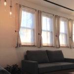 アイアンバー4連小窓カーテン